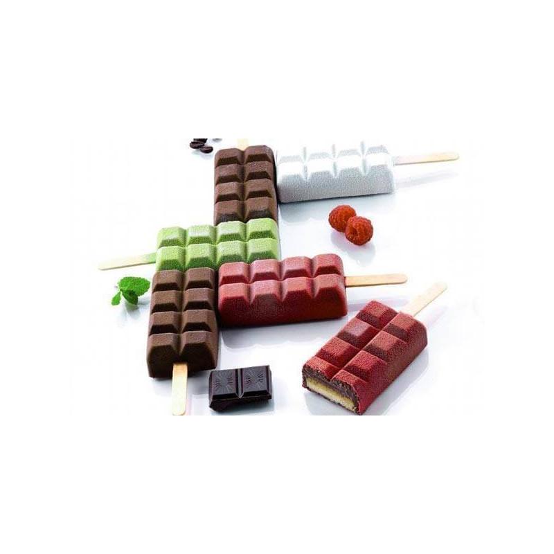 Moules Glaces ou gâteaux sucettes forme tablette chocolat