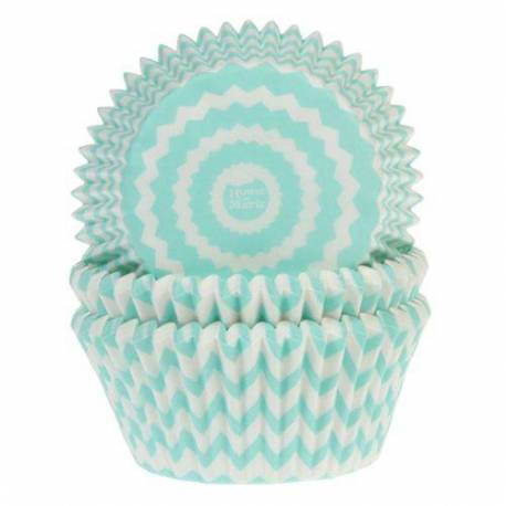 50 Chevron Mint and White Cupcake Boxes