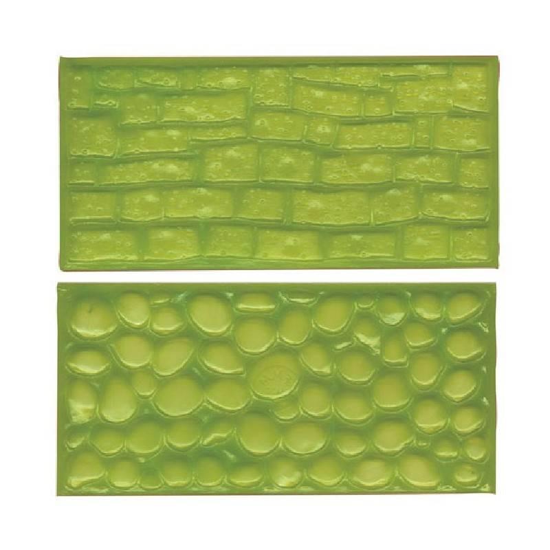 Lote 2 Pared de moqueta texturizada y muro de adoquines FMM