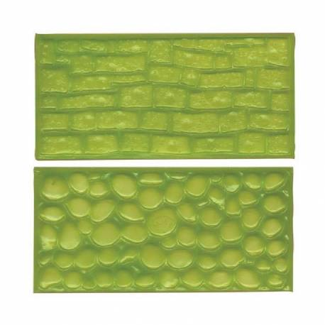 Set of 2 Textured Mat stone wall and paving FMM