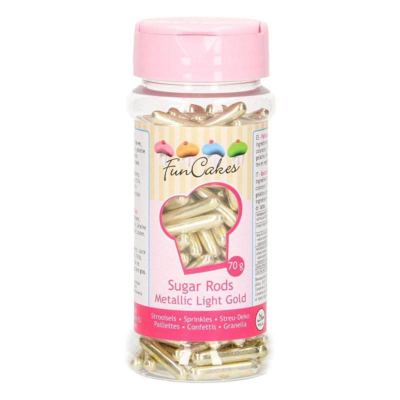 Beads sugar sticks GOLD Funcakes 70g