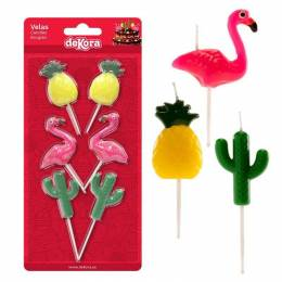 6 candles pineapple Cactus and pink Flamingo