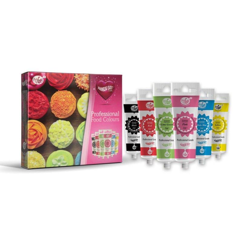 Kit of 6 edible gel colours PROGEL Rainbow Dust