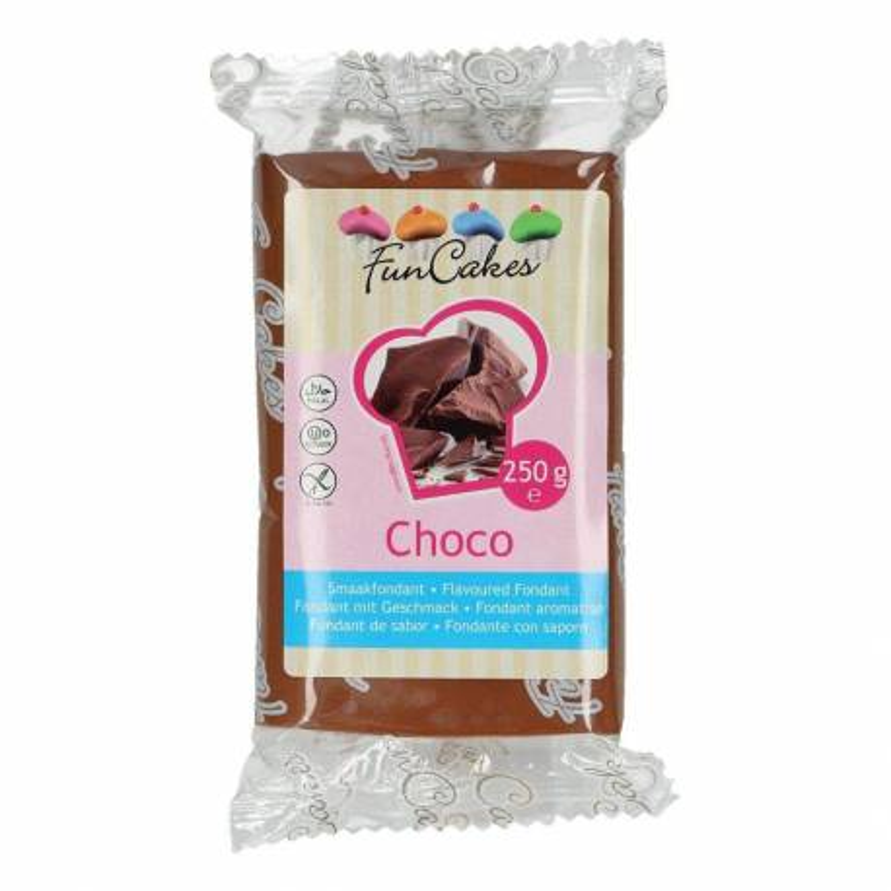 FUNCAKES MARRON Sugar Paste flavoured CHOCOLATE 250 G