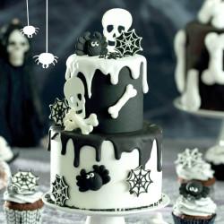 7 Décorations en sucre Os , toiles d'araignée et crane Halloween