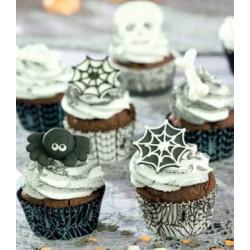 75 Caissettes à Cupcakes Toile d'araignée Halloween