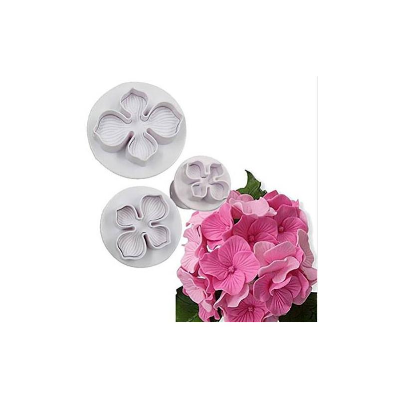 Set de 3 découpoirs à piston Fleur Hortensia