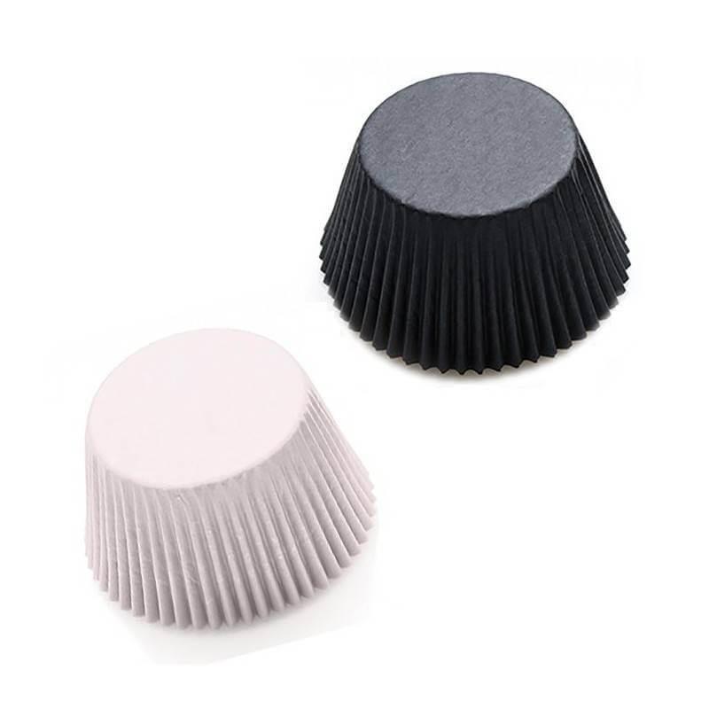 200 Mini Caissettes à Cupcakes Assorties Blanc et Noir