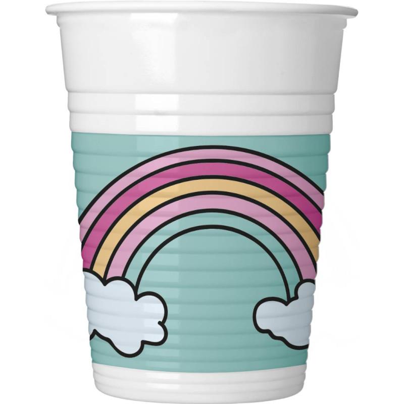 8 Vasos de Plastico unicornio PARTY