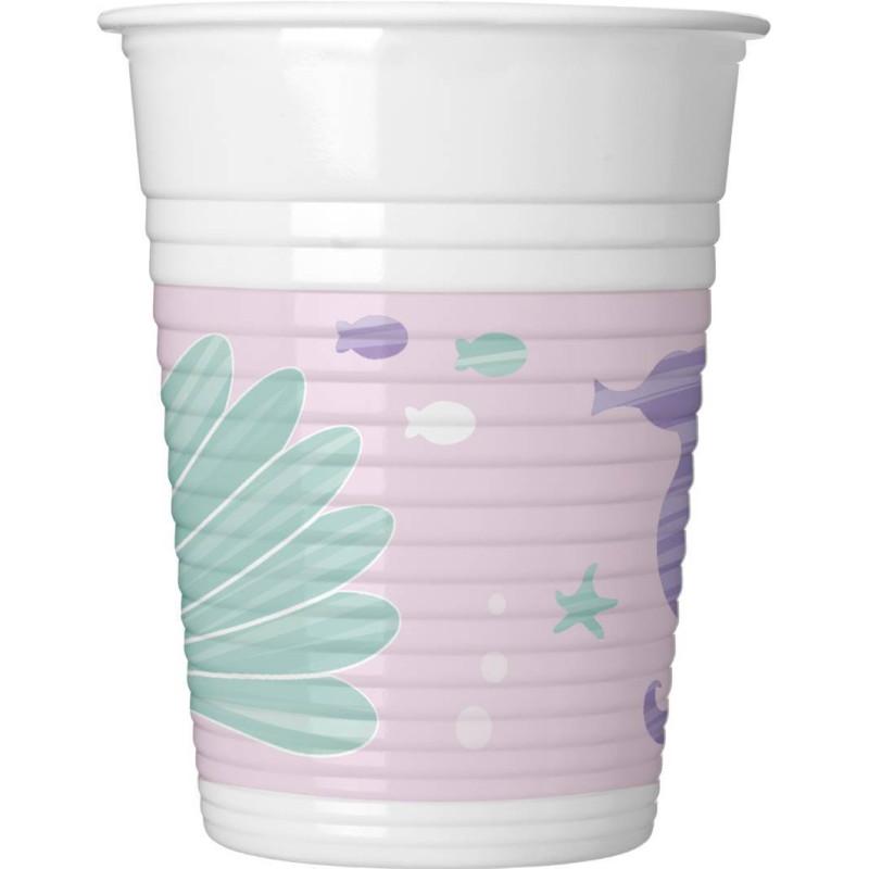 8 Vasos de Plastico de decoración SIRENE