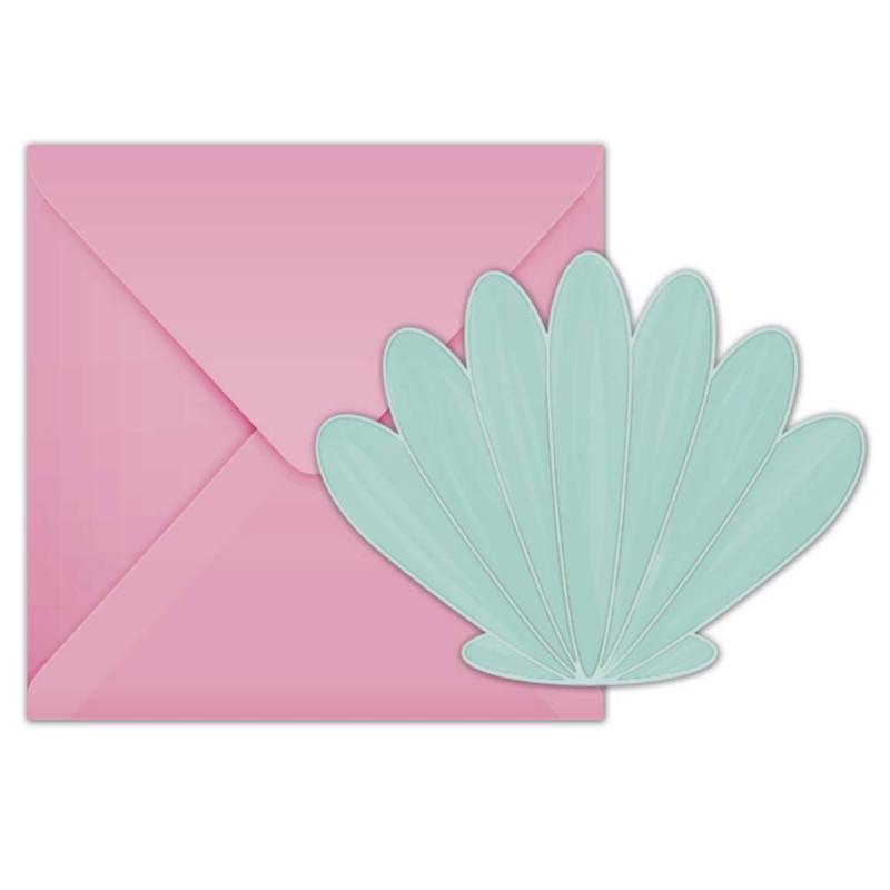 6 Invitations et enveloppes Coquillage