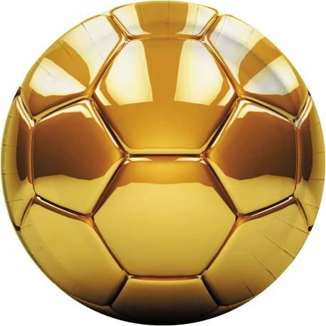 8 Assiettes Ballon Or Football 23 cm