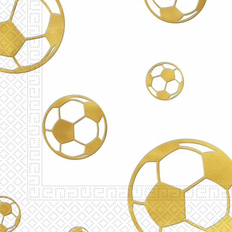 15 Servilletas de Fútbol Oro Ball