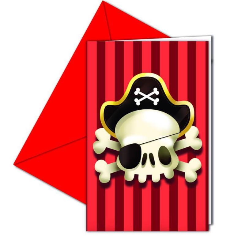 6 Cartes Invitations et enveloppes PIRATE