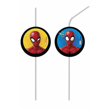 6 SPIDERMAN medallion straws