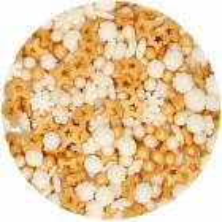 Confeti Sprinkles WINTER GOLD Escamas de estrellas y perlas 180 g