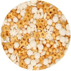 Confettis hiver OR Flocons étoiles et perles 180 g