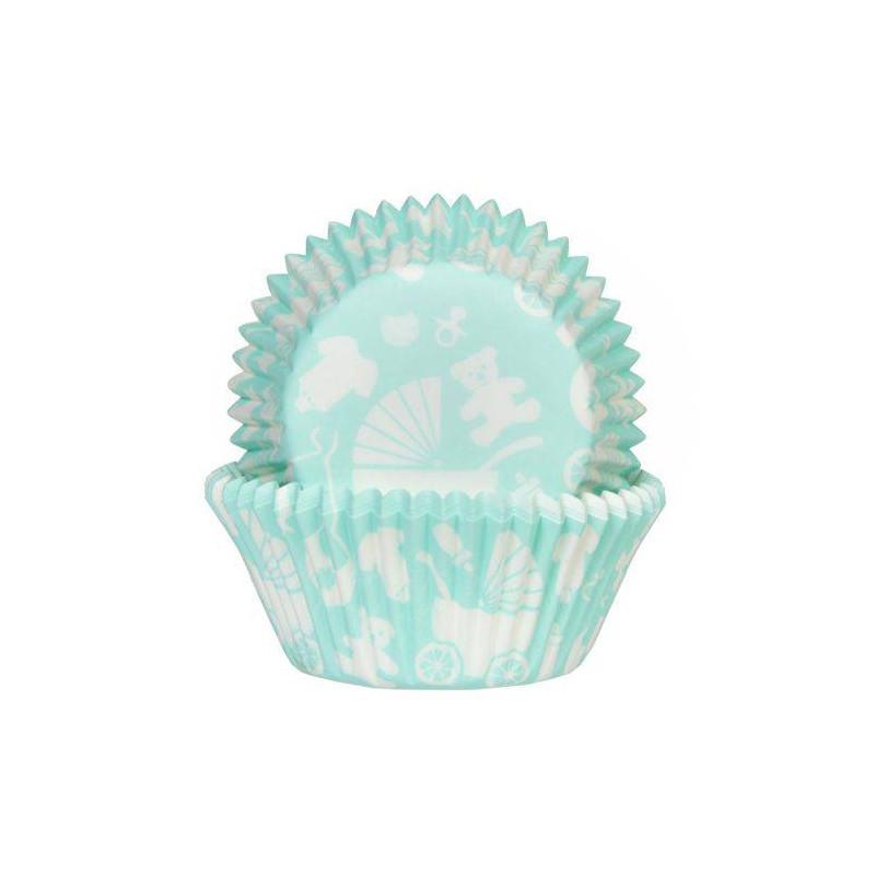 50 x Caissettes à cupcakes Bébé Bleu