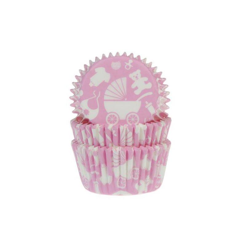 50 x Caissettes à Cupcakes Bébé Rose