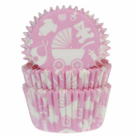 50 x Pink Baby Cupcakes Boxes