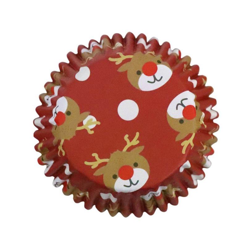 30 Caissettes à Cupcakes Rennes de Noël PME