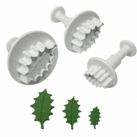 3 Holly Leaves plunger cutters