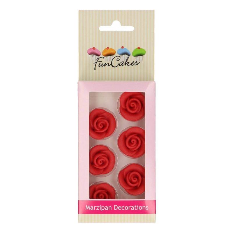 6 Fleurs Rose ROUGE en pâte d'amande Funcakes