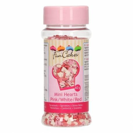 Mini coeurs en sucre Rose , Rouge et Blanc Funcakes 60G