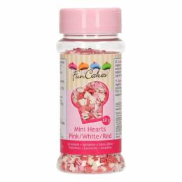 Mini cœurs en sucre Rose , Rouge et Blanc Funcakes 60G