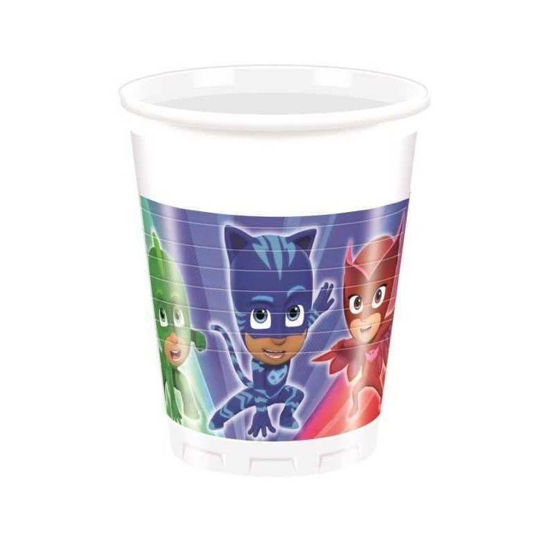 8 Vasos de Plastico de Héroes en Pijamas 20 CL