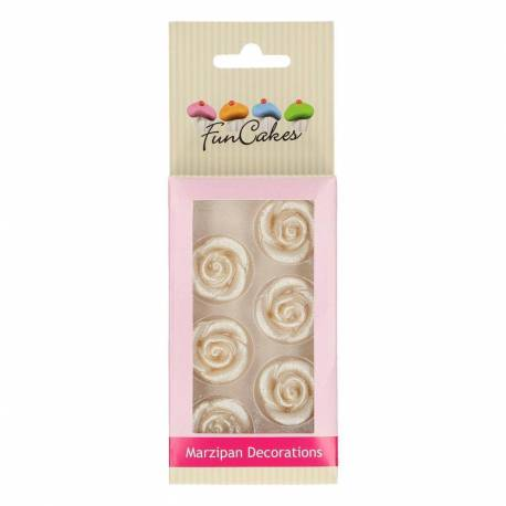 6 SILVER Pink Flowers in Funcakes marzipan