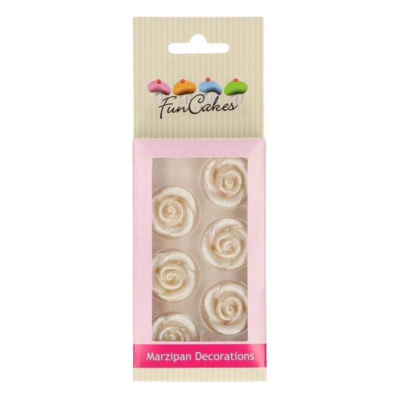 Fleur rose en pâte d'amande argentée - Funcakes (x6)