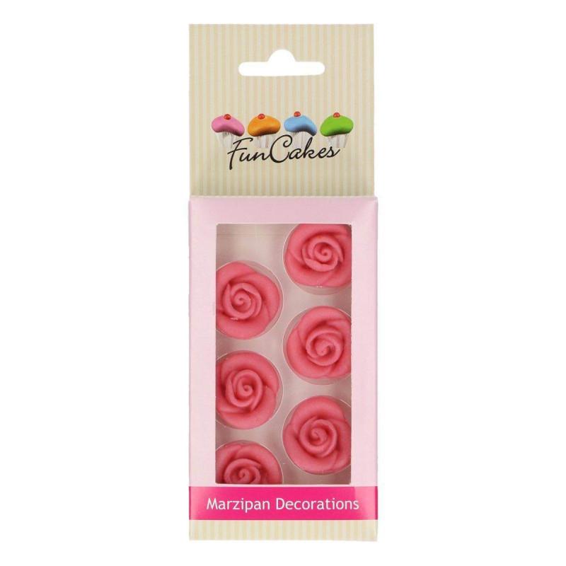 6 Fleurs Rose ROSE en pâte d'amande Funcakes