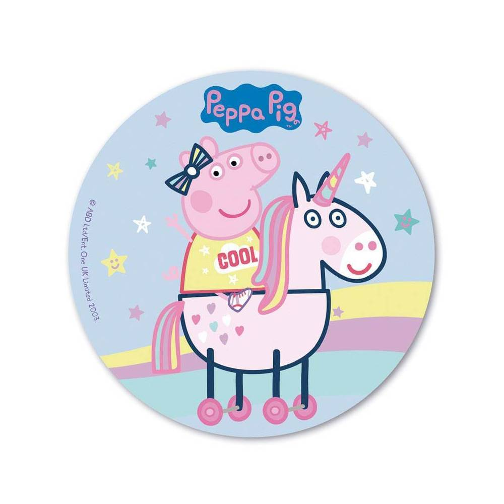 Edible Wafer Peppa Pig And Unicorn Disc 20 Cm Planete Gateau
