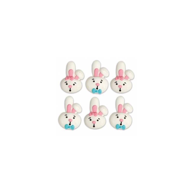 6 decoraciones de azúcar Cabeza de conejo Sr. y Sra