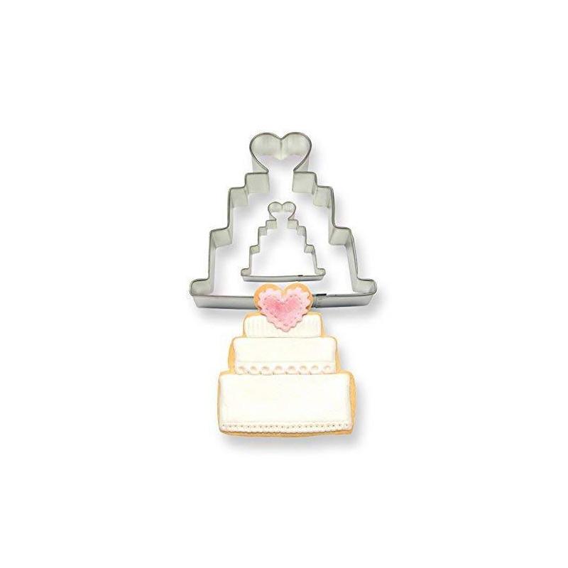 Set de 2 cortadores de tartas de boda 10 cm