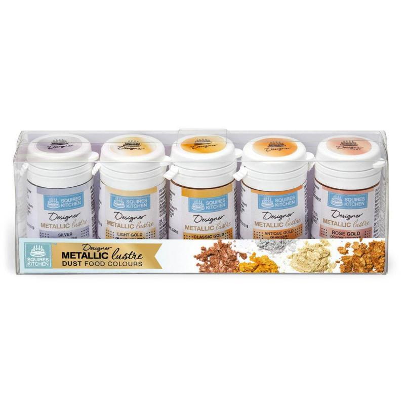 Paquete de 5 tintes en polvo metálicos Squires Kitchen