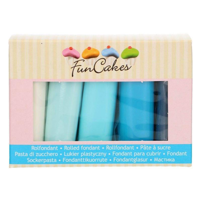 Pack of 5 Sugar Pastes Blue Funcakes Palette