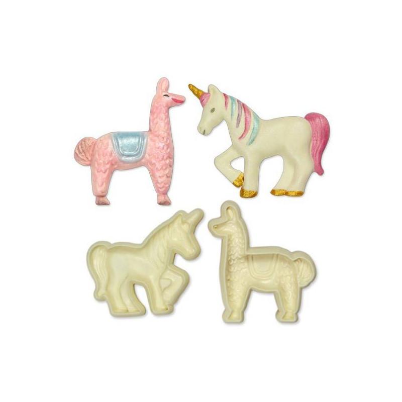 Set de 2 cortadores Unicorn y Lama 3D