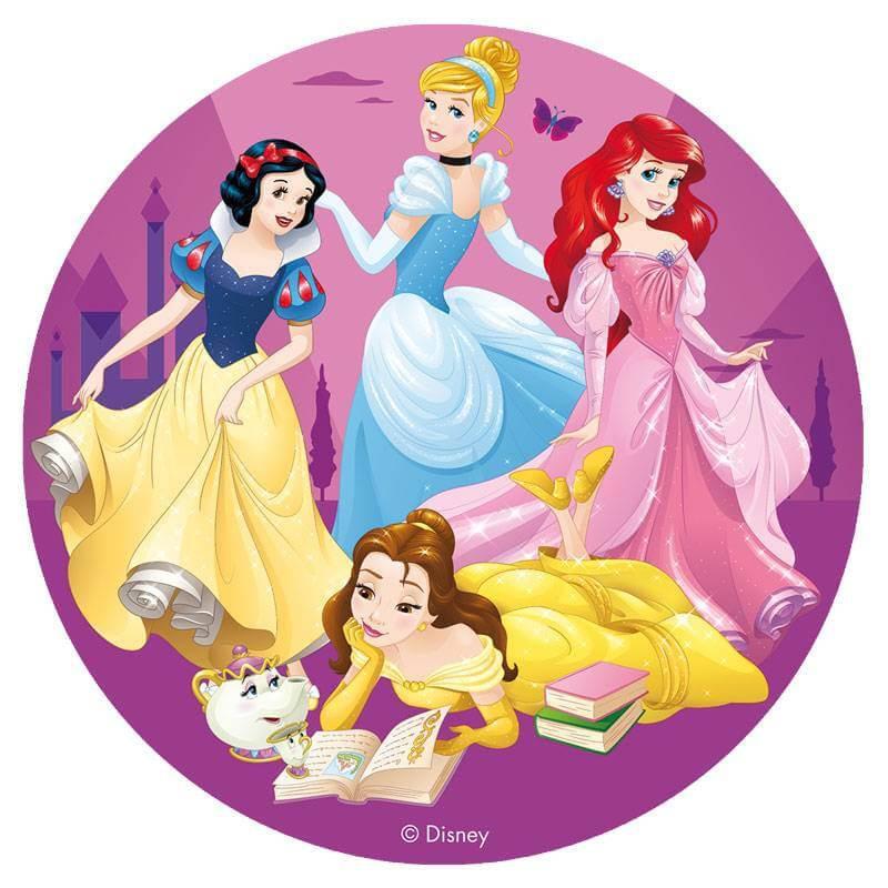 Disque en sucre princesses Disney 16 cm fond violet