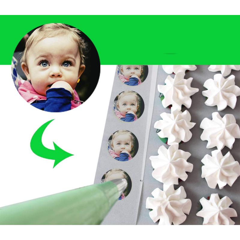 Impression de VOTRE image sur feuille A4 de TRANSFERT meringues