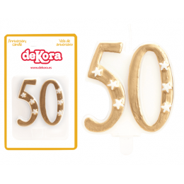 Candle 50 eme anniversary gold