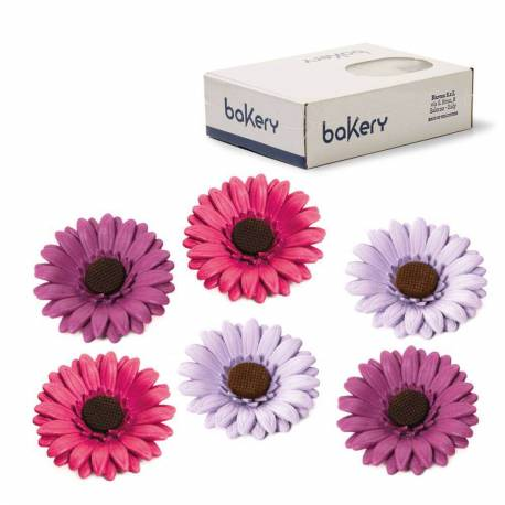 12 Coloured daisy flowers in assorted sugar 8 cm