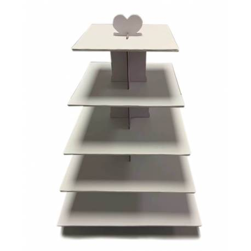 Stand à Cupcakes blanc Carré 5 étages