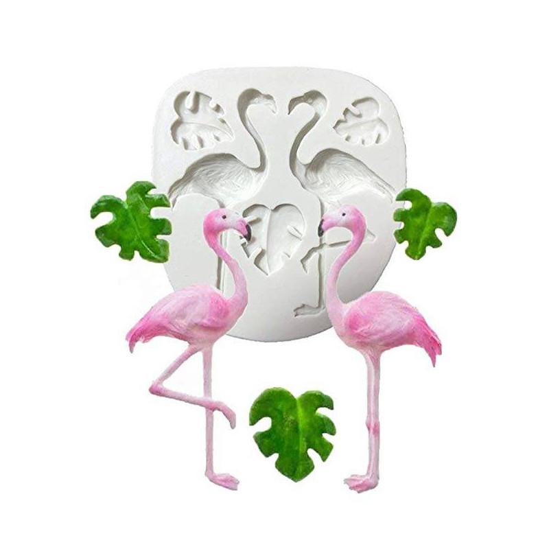 Molde de silicona Flamencos Rosa y hojas tropicales