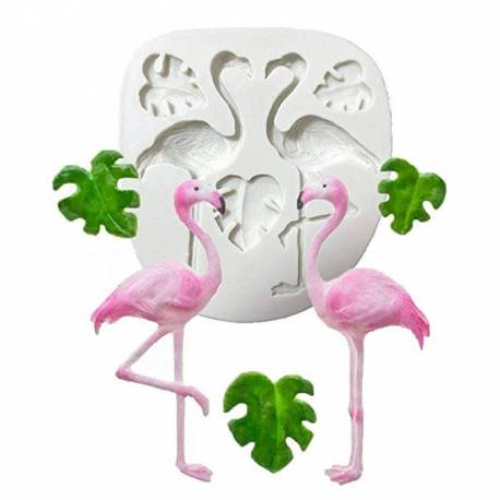 Silicone mold Flamingos Pink and Tropical leaves