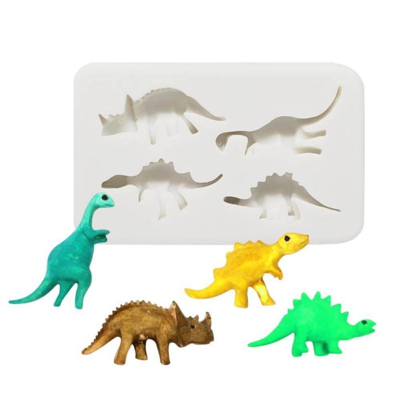 Molde de silicona de 4 dinosaurios