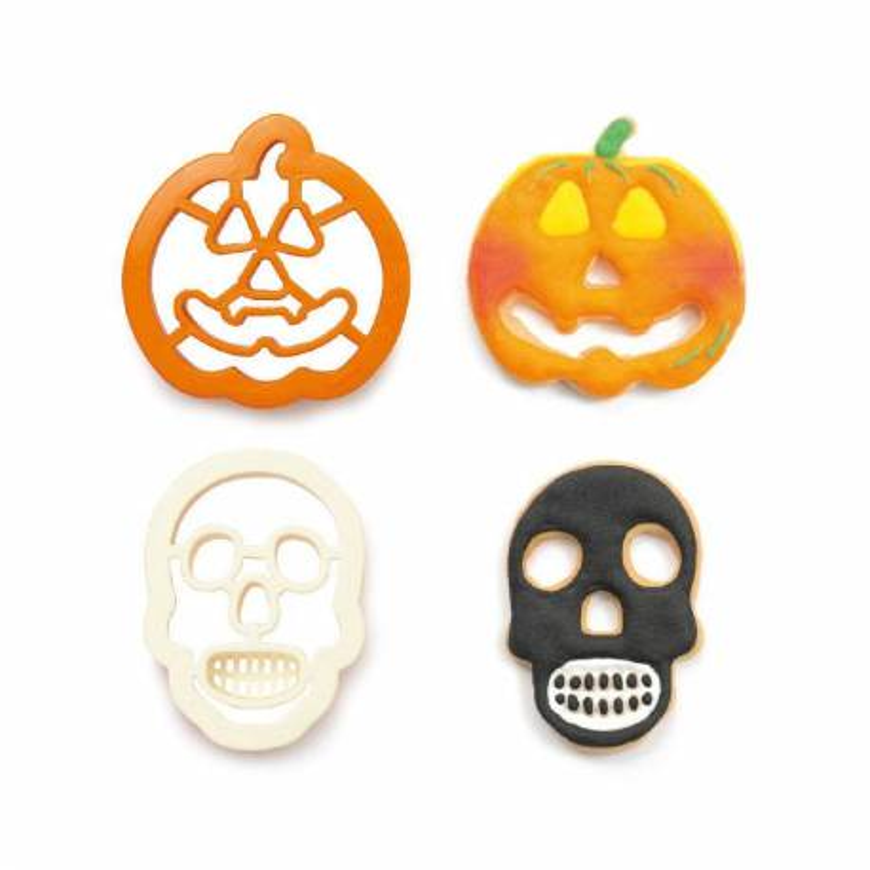 Set de 2 cortadores de Halloween Calabaza y cráneo