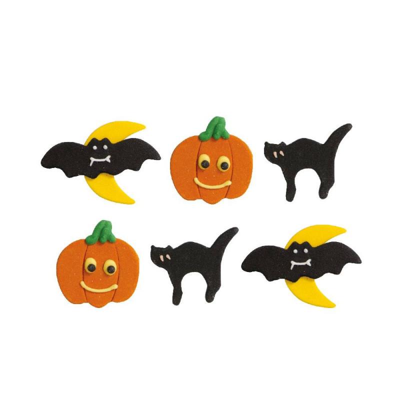 6 Calabazas, gatos y murciélagos en el azúcar de Halloween