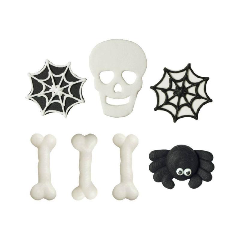 7 decoraciones de azúcar Huesos, telarañas y calavera de Halloween